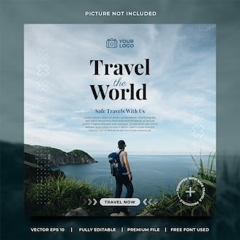 Voyagez Dans Le Monde Modèle De Publication Sur Les Médias Sociaux Vecteur Premium