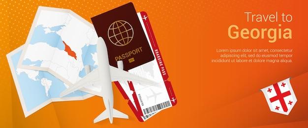 Voyagez en géorgie sous la bannière pop-under. bannière de voyage avec passeport, billets, avion, carte d'embarquement, carte et drapeau de la géorgie.
