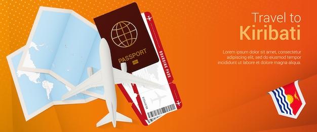 Voyagez à kiribati sous la bannière pop-under. bannière de voyage avec passeport, billets, avion, carte d'embarquement, carte et drapeau de kiribati.