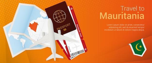 Voyagez en mauritanie sous la bannière pop-under. bannière de voyage avec passeport, billets, avion, carte d'embarquement, carte et drapeau de la mauritanie.
