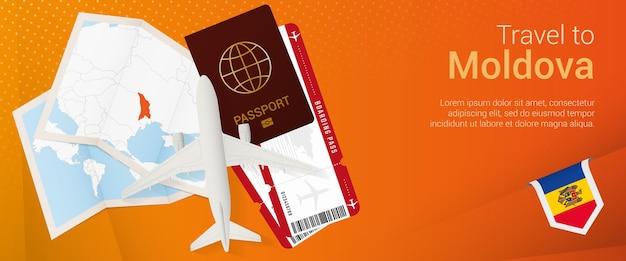 Voyagez en moldavie sous la bannière pop-under. bannière de voyage avec passeport, billets, avion, carte d'embarquement, carte et drapeau de la moldavie.