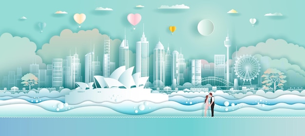 Voyagez à l'opéra dans les points de repère de l'australie avec des ballons d'amour et un couple dans l'art du papier