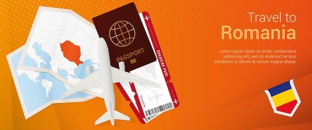 Voyagez en roumanie sous la bannière pop-under. bannière de voyage avec passeport, billets, avion, carte d'embarquement, carte et drapeau de la roumanie.