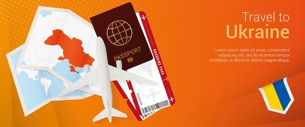 Voyagez en ukraine sous la bannière pop-under. bannière de voyage avec passeport, billets, avion, carte d'embarquement, carte et drapeau de l'ukraine.