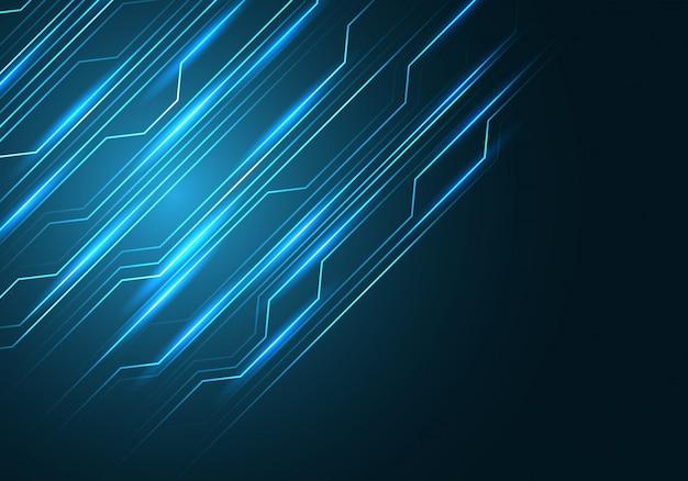 Voyant de circuit de ligne bleue avec un fond noir d'espace vide.