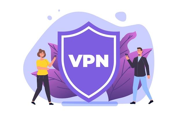 Vpn, concept de service mobile de réseau privé virtuel. protégez les données personnelles dans le smartphone. illustration vectorielle