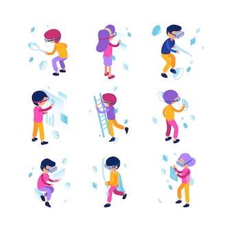 Vr people. futurs personnages masculins et féminins jouant dans des jeux de réalité virtuelle, casque et casque à technologie immersive isométrique