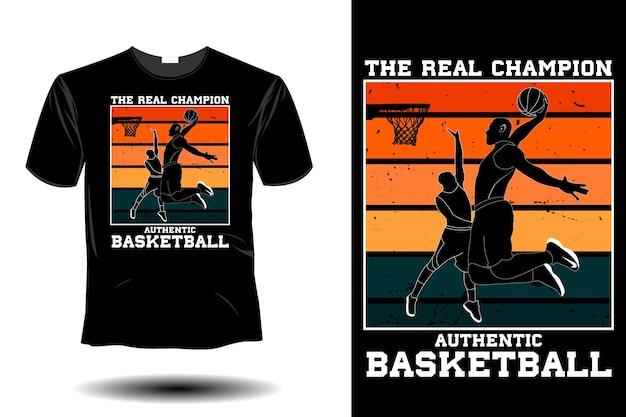 Le vrai champion authentique de la maquette de basket-ball rétro design vintage