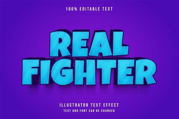 Vrai combattant, effet de texte modifiable 3d dégradé bleu style bande dessinée en relief violet