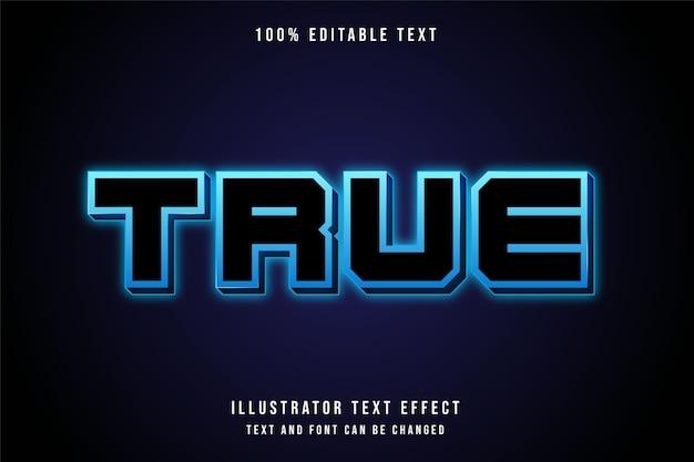 Vrai, effet de texte modifiable 3d style de texte néon bleu moderne