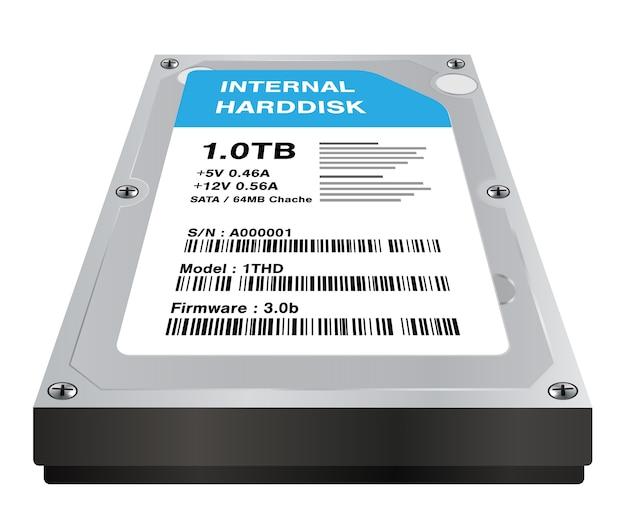 Vrai stockage disque dur interne 3d sur fond blanc