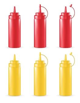 Vrai tube de sauce rouge et jaune 3d