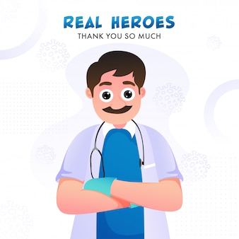 De vrais héros vous remercient beaucoup de texte avec le personnage de dessin animé médecin sur fond blanc de virus sars et mers.