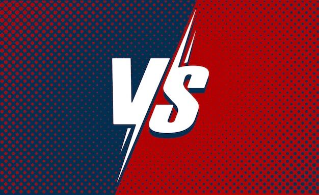 Vs ou contre affiche de texte pour le jeu de bataille ou de combat dessin animé plat avec fond de demi-teintes rouge et bleu foncé