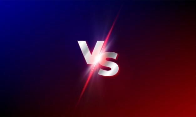 Vs contre fond. rouge et bleu mma lutte compétition vs lumière souffle éclat modèle