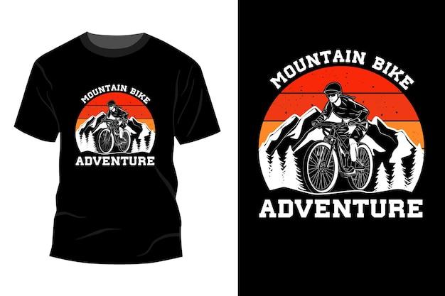 Vtt aventure t-shirt maquette design silhouette vintage rétro