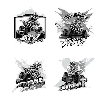 Vtt quad hors route, ensemble de logos noir et blanc