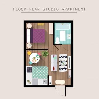 Vue aérienne de dessus de meubles d'appartement détaillée. studio avec une chambre. illustration de style plat.