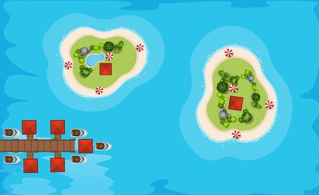 Vue aérienne, deux, îles, mer