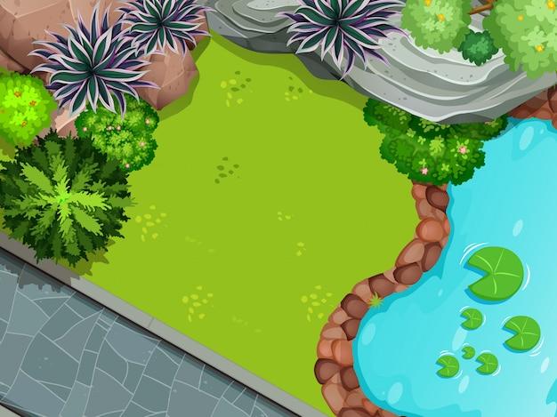 Une vue aérienne du jardin