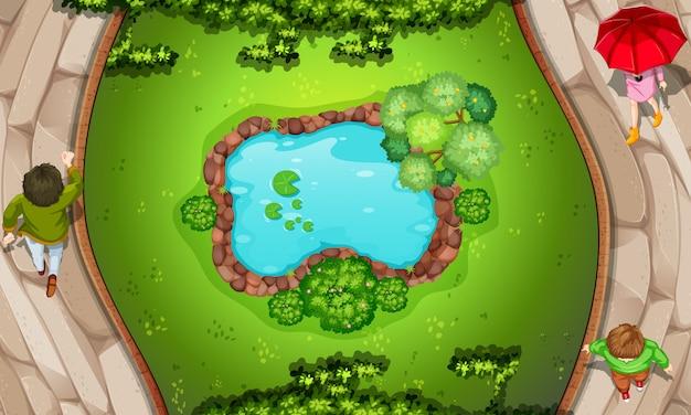 Une vue aérienne du parc