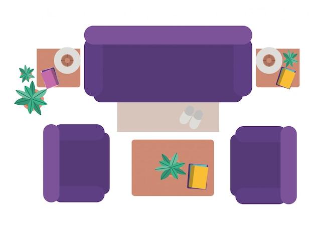 Vue aérienne du salon icône isolé