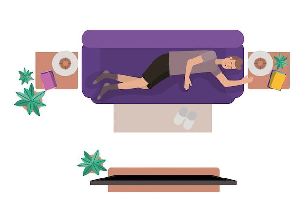 Vue aérienne de l'homme au repos personnage avatar