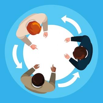 Vue aérienne d'hommes d'affaires élégants en réunion