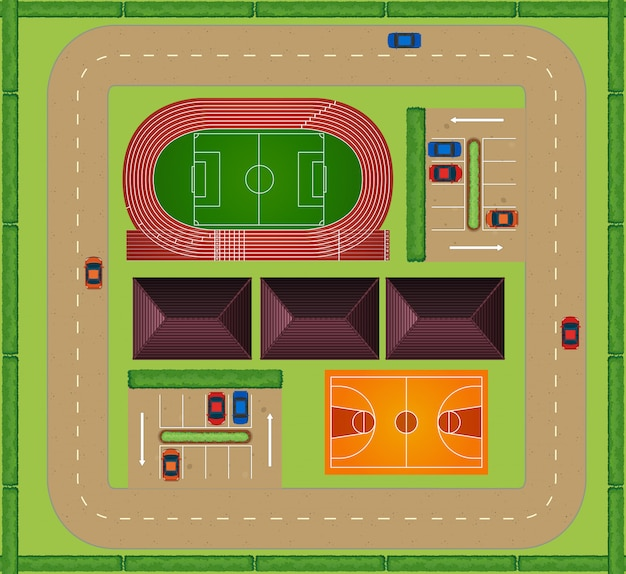 Vue aérienne de l'installation sportive