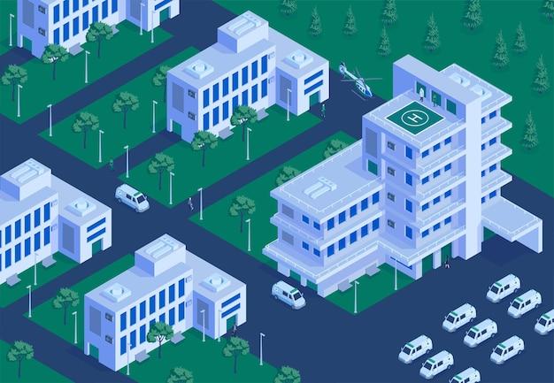 Vue aérienne isométrique extérieure de l'hôpital terrein avec collection de bâtiments illustration du parking d'ambulance d'atterrissage d'hélicoptère d'urgence