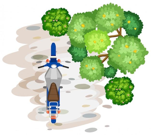 Vue aérienne de la moto