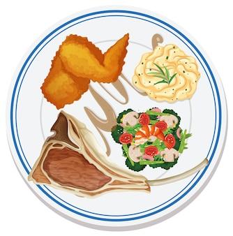 Vue aérienne de la nourriture sur assiette