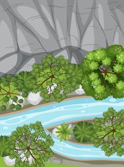 Vue aérienne avec rivière à travers le paysage forestier
