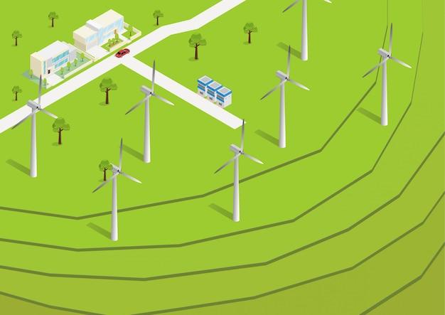 Vue Aérienne De Rizières En Terrasses Vert Isométrique Vecteur Premium