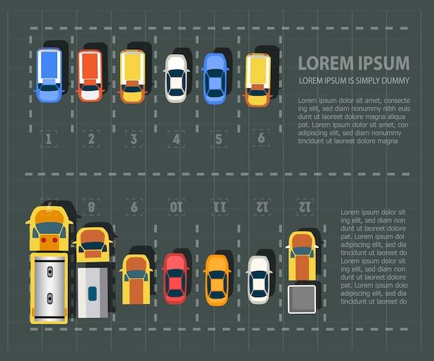 Vue aérienne des véhicules. ensemble de voitures