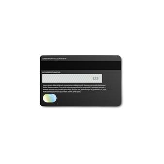 Vue arrière de la carte bancaire de crédit ou de débit noir avec bande magnétique