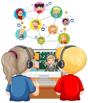 Vue arrière d'un couple enfant regardant l'ordinateur pour l'apprentissage en ligne