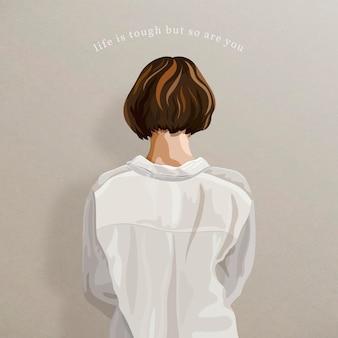 Vue arrière de la femme sur un modèle de publication instagram fond beige