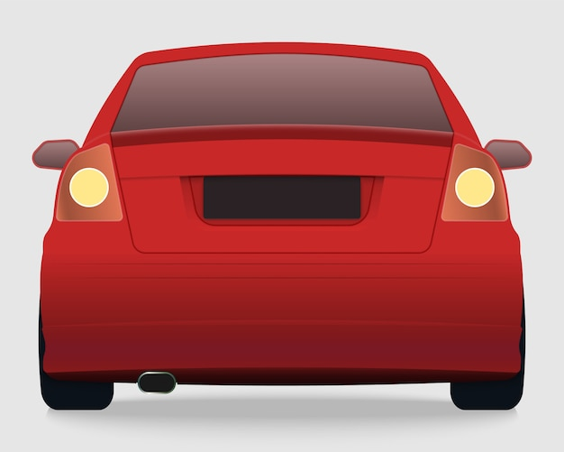Vue arrière de la voiture rouge