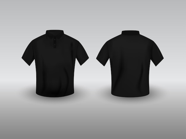 Vue avant et arrière du modèle de t-shirt polo réaliste noir sur fond gris.