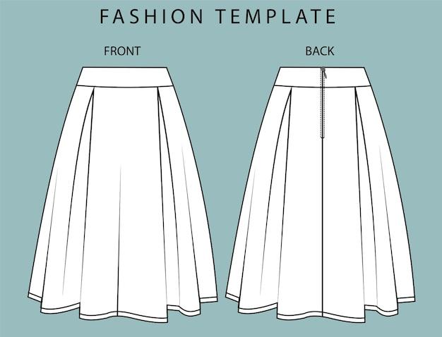 Vue avant et arrière de la jupe