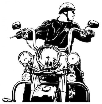 Vue avant du motocycliste