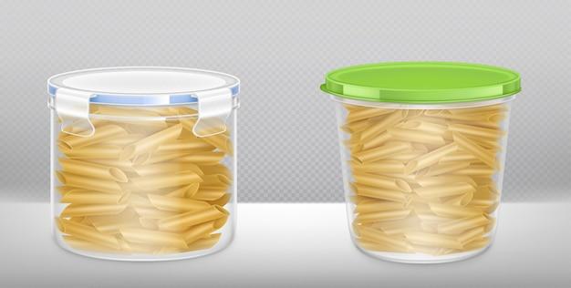 Vue avant et supérieure du seau en plastique transparent