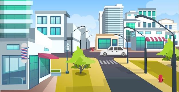 Vue sur les bâtiments et la rue de la ville