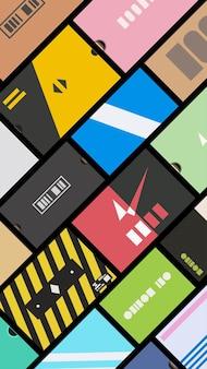 Vue des boîtes de baskets du haut du design plat
