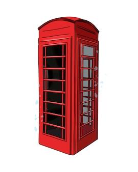 Vue de la cabine téléphonique rouge de londres de peintures multicolores dessin coloré réaliste