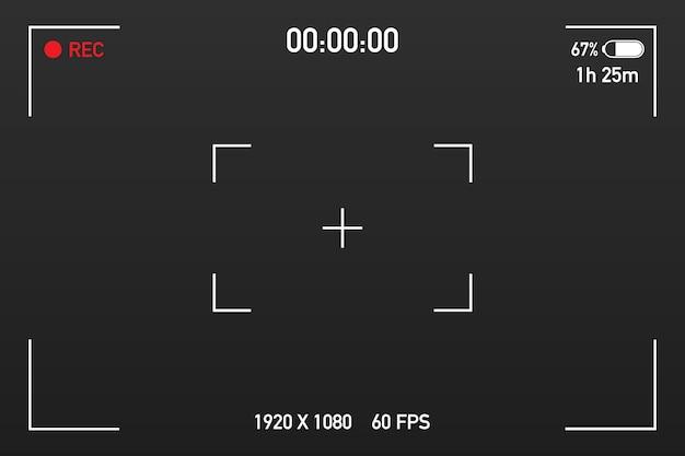 Vue caméra visionnant des images. mise au point de l'écran visuel. écran d'enregistrement vidéo sur un transparent.