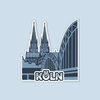 La vue de la cathédrale depuis le pont de cologne est réalisée en monochrome.