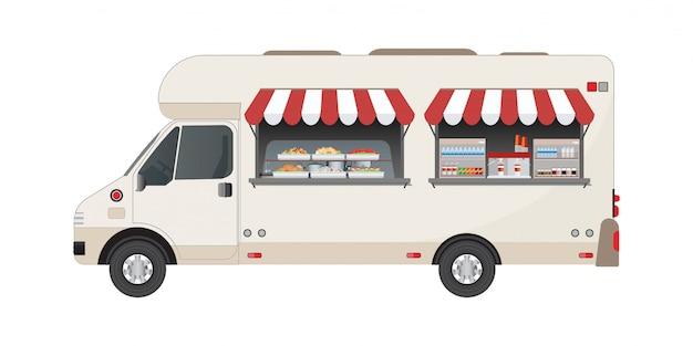 Vue de côté de camion de nourriture avec nourriture et boisson.
