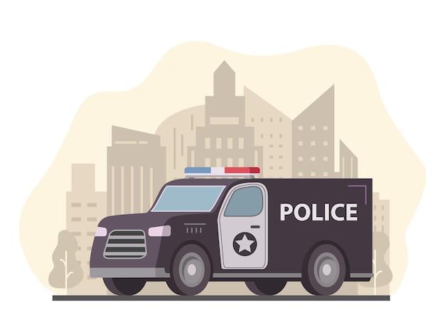 Vue de côté du véhicule de camion fourgon de police